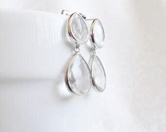 CLEARANCE Cubic Zirconia Double Teardrop Bridal Earrings, Cubic Zirconia And Rhodium Bridal Earrings, Crystal Teardrop Bridal Earrings
