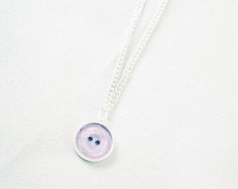 Purple Jewelry - Purple Necklace - Button Necklace - Button Charm - Minimalist Necklace - Cute Necklace - Button Jewelery - Purple Pendant
