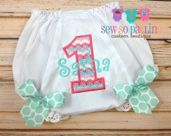 1st Birthday Diaper Cover - Birthday Baby Bloomers - Baby Girl Bloomers - coral and teal