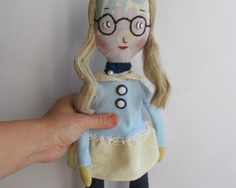 Primitive doll in glasses - Fabric  cloth doll - Soft stuffed toy - For girl - Toy for wall decor home