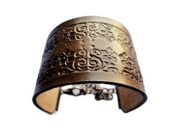Tooled Leather Cuff, Adjustable Leather Cuff Bracelet, Leather Bracelet With Pattern, Leather Bracelet
