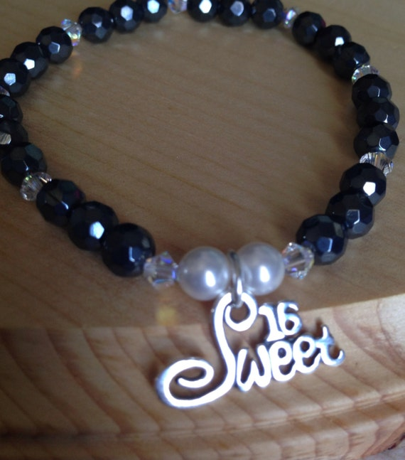 Sweet 16 Charm Bracelet: Sweet 16 Sterling Silver Charm Bracelet Faceted Hematite