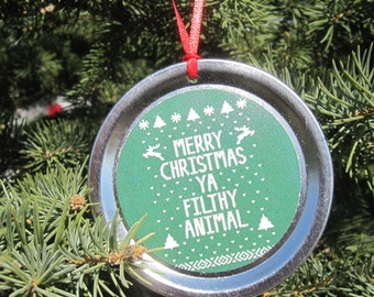 """Home Alone Christmas Ornament – Funny Movie Quote: """"Merry Christmas ya filthy animal."""""""
