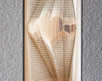 Three Hearts-Folded Book Art- Book Lover-Home Decor