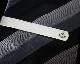 Anchor tie clip -  Hand stamped -  great for a gift