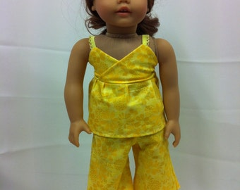 "Yellow Floral Capri Set  - Fits 18"" American Girl Doll and all other 18"" Dolls"