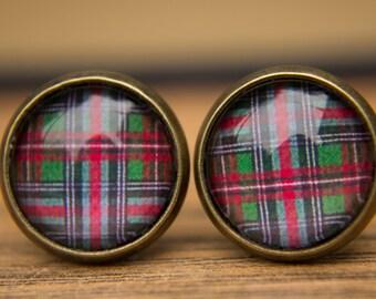 Tartan Earrings, Red and Green Tartan, Tartan Studs, Glass Dome Earrings, Gifts for Her, Simple Earrings, Everyday Jewellery, Red Earrings
