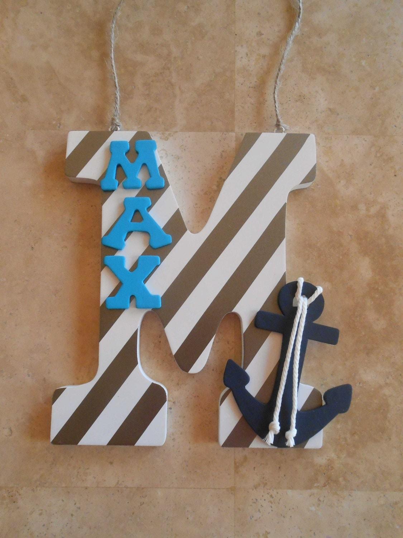 nursery letters anchor decor nautical nursery decor navy. Black Bedroom Furniture Sets. Home Design Ideas