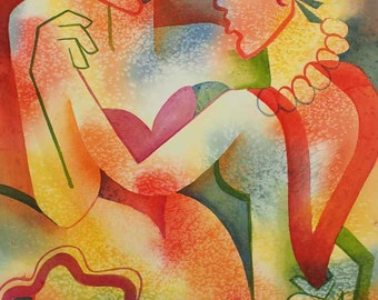 original watercolor painting, women, romantic, lesbian, dreamy, dreamlike, colorful, bright, decorative