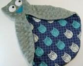 Grey and Blue Owl Security Blanket , Minky Lovie