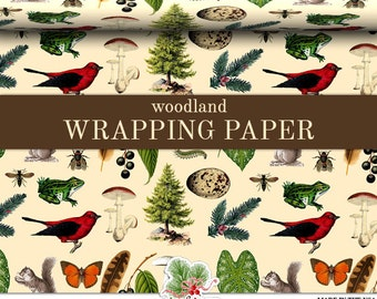 Woodland Wrapping Paper | Custom Woodland Gift Wrap Paper 9 foot or 18 foot Rolls Great For Any Occasion.