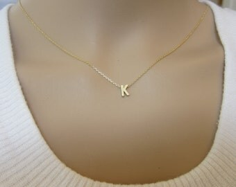 Set of 4, 5, 6, 7, 8, 9, 10, 11, 12  Tiny Gold Initial Necklace, Letter Necklace, Bridesmaid Gift, bridal party gift.