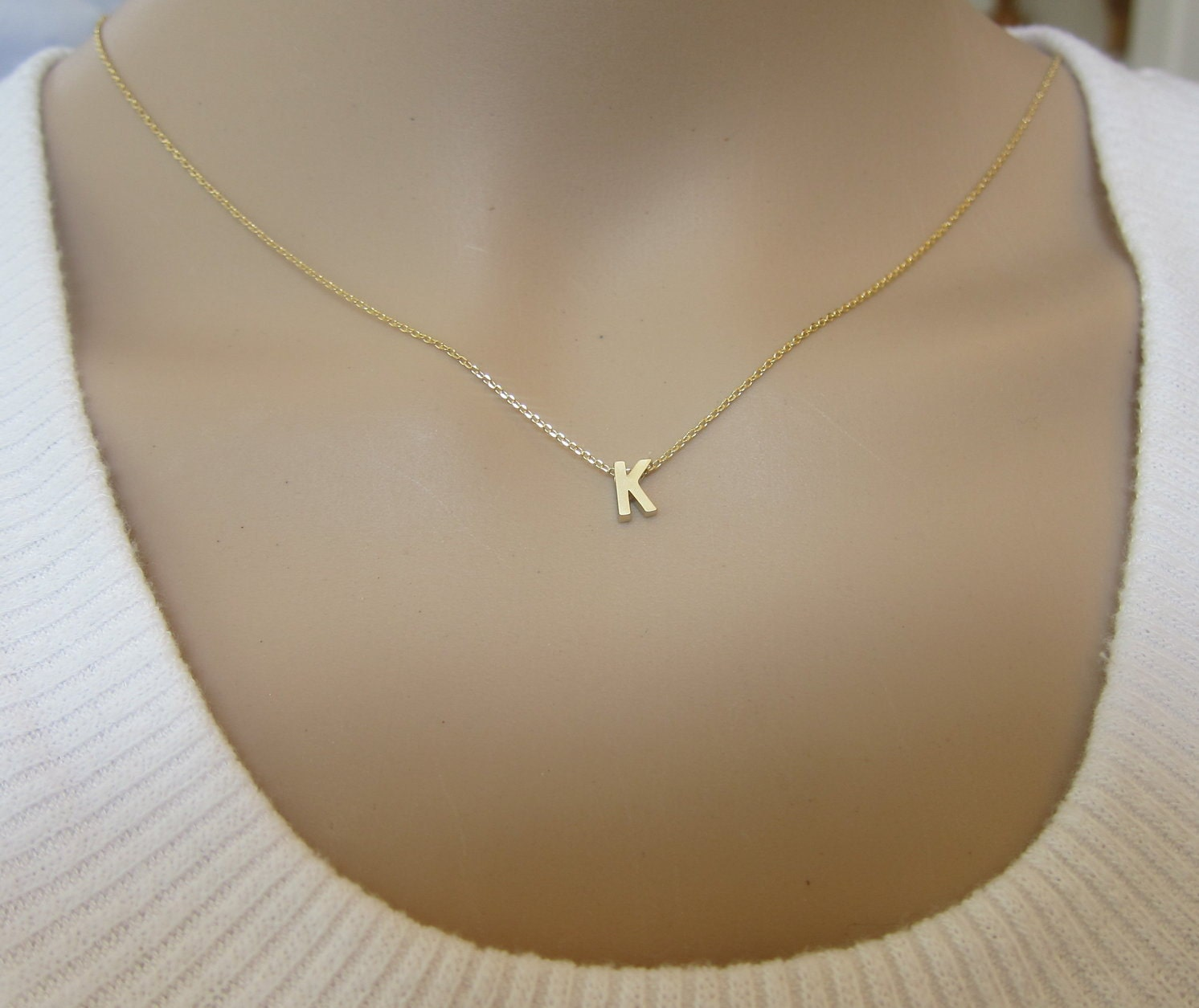 tiny gold initial necklace letter necklace personalize