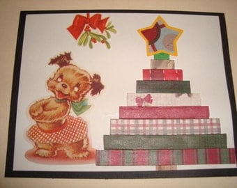 """Unique Handmade Cards with Vintage Christmas Card Cutouts """"Dogs and Cats"""""""