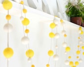 Felt Ball Garland Yellow. Yellow Wedding Decor. Party Decorations.Kids Room Nursery Decor.50 Felt Balls 3metres.Yellow Decor.Yellow Garland