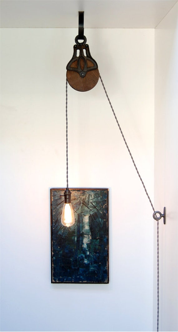 Diy Kit For Antique Cast Iron Amp Wood Pulley Lamp By