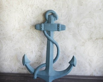 Large  Blue Painted Distressed Cast Iron Anchor Wall Decor Nautical Baby Decor Beach Decor