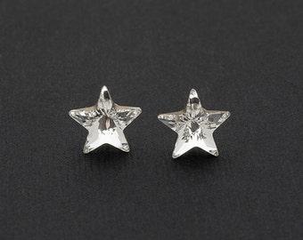 Swarovski Star Earrings Star Stud Earrings Crystal Earrings Swarovski Studs Sterling Silver Star Earrings Post Earrings Swarovski Jewelry