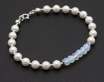 Swarovski Pearl Bracelet Sterling Silver Bracelet Delicate Pearl Bracelet Swarovski Bracelet Stacking Bracelet Sterling Silver Jewelry