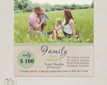 Family Mini Session Template - Photography Marketing Board 063 - C215, INSTANT DOWNLOAD