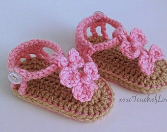 Beautiful Seaside Baby Sandals flip flops for girls with bows