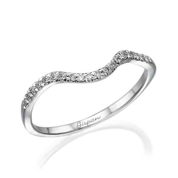 curved wedding ring white gold with diamonds twist half eternity ring