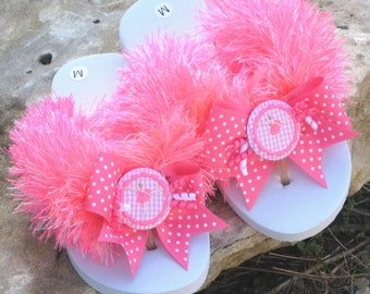 GIRLS FLIP FLOPS, Fun Fur, Embroidered Designs, Cupcake, Ballerina, Crown, Personalized, Bows, Great Birthday Gift, Custom, Comfy Flats