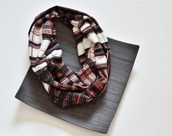 Geometric Scarf, Striped Circle Scarf, Black White Red Stripes Loop Scarf, Satin Infinity Scarf, Women's Gift, Fashion Accessory