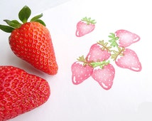 Strawberry stamp, Fresh fruits, Berry stamp, Red fruits, Fruits rubber stamp, Scrapbooking, Jam label, Cute stamp, Wrapping paper, Gift wrap