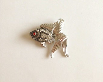 Vintage Silver Rhinestone Fish Brooch and Pendant