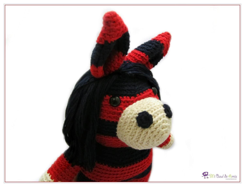 Amigurumi Jogless Stripes : Crochet Red Blue Horse Doll Stripes Amigurumi Animal Stuffed