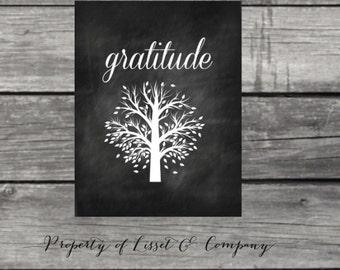 Gratitude Chalkboard Style Instant Download