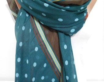 Soft Cotton Scarf Polka Dots Scarf Green Brown Scarf Shawl Winter Spring Summer Women Fashion Accessories St Patricks Day Scarf Gift For Her