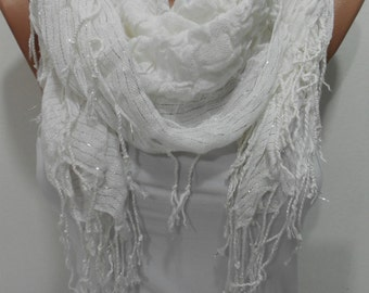 White Women Scarf Shawl, Ruffle Cowl Scarf, Women Fashion Accessories, Sparkle Scarf, Fringe Scarf, Gift For Mom, Gift For Her, ScarfClub