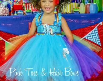 Rainbow Dash Dress- Rainbow Dash Tutu Dress- My little pony tutu- My little pony Birthday Dress