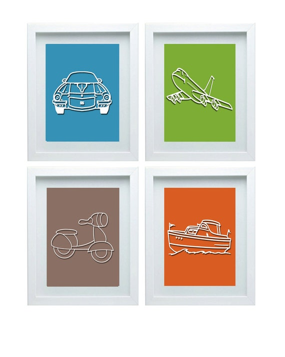 Nursery Wall Decor Transportation : D transportation room decor nursery art car airplane boat