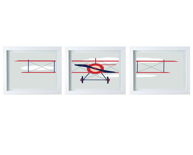 Airplane Wall Decor Nursery : Airplane art nursery decor wall aviation print red navy