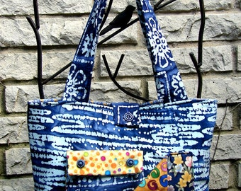 Pocket Tote Bag - Dark Blue Batik