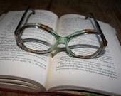 French Eyeglass Frames. 1970s 70s Vintage Glasses Joan of Arg. Retro Green Brown Tortoiseshell Tortoise Shell Ombre Eyewear Eye Wear. France