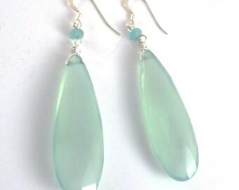 Teal Chalcedony Earrings, Chalcedony Drop Earrings, Tiffany Blue Earrings, Teal Earrings, Bridesmaid Earrings, Teardrop Earrings, Aqua