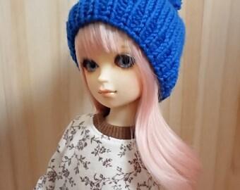 bjd yosd 1/6  doll hat  knitted basic blue  nd 123