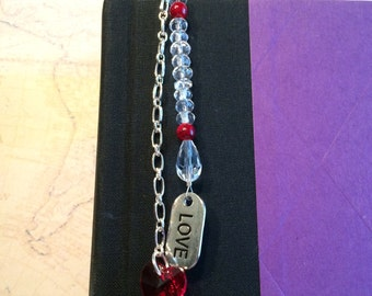 """Red """"Love"""" Clip On Bookmark"""