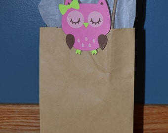 Owl Light Pink / Green Favor Clips for bags, baskets or box - birthday party - Set of 12