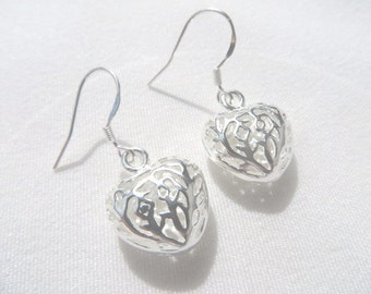 Sterling Silver Earrings Silver Heart Earrings Valentines Day Gift For Her Everyday Earrings Under 20 Dollars