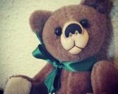Small Jointed Bear with Green Ribbon - Janet MacDonald Copyright 1984