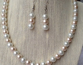 Light Pink Pearl Necklace, Bridesmaid Jewelry Gift Set, Bridal Necklace, Pink Wedding Jewelry, Pink Beaded Jewelry, Bridal Party Jewerly