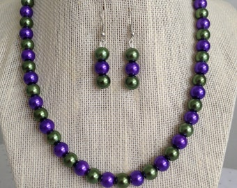Purple Pearl Necklace, Purple and Green Beaded Necklace, Fall Wedding Jewelry, Bridesmaid Jewelry, Multicolor Beaded Jewelry