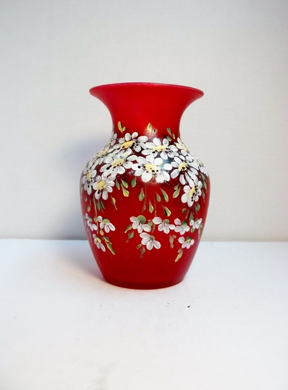 Red Glass Vase Hand Painted Scandinavian Style Design