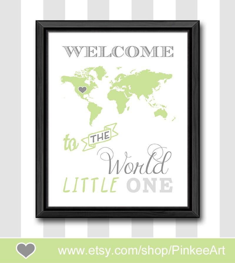 Boy Nursery Wall Decor world map theme newborn gift modern new baby wall decor
