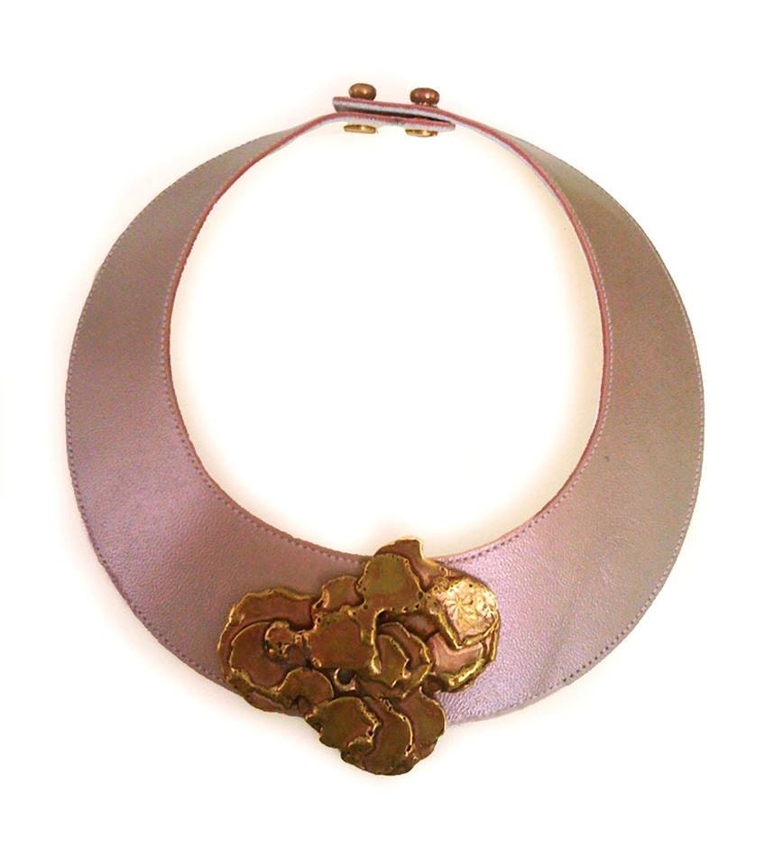 pink leather choker necklace handmade jewelry by